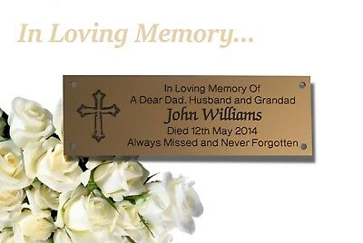 Brass Effect Memorial Bench Plaque (Cross)