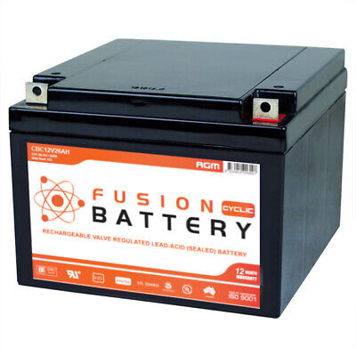 12V 26Ah Agm Deep Cycle Battery Solar Golf Scooter Camping Mobility Fusion