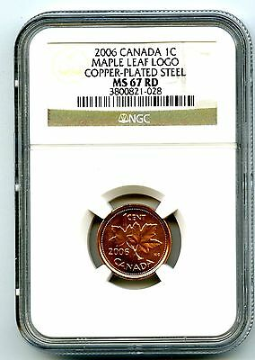 2006 Canada Cent With Logo No 'p' Mark Ngc Ms67 Rd Steel Maple Leaf Top Pop Coin