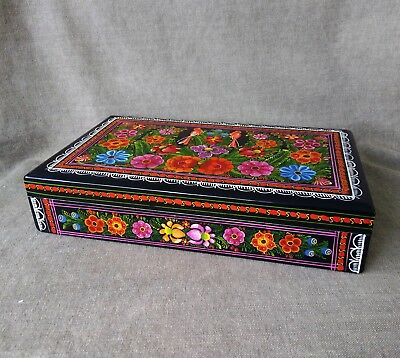 Gorgeous Olinala Lacquered Box. Mexican Folk Art