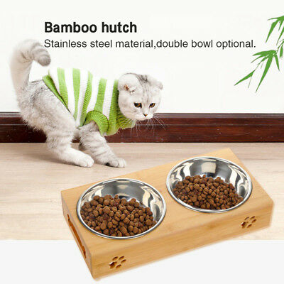 Pet Bowl Bamboo Metal Food Dish Dog Cat Dining Table Small Animals Water Feeder