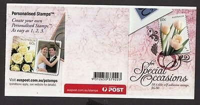 2010 Australia P&S Booklet  -Special Occasions TULIPS   10 x 60c stamps - MNH