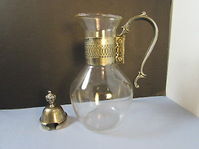 International Silver Co. Glass Coffee/Tea Decanter & Silver Plated Warming Stand
