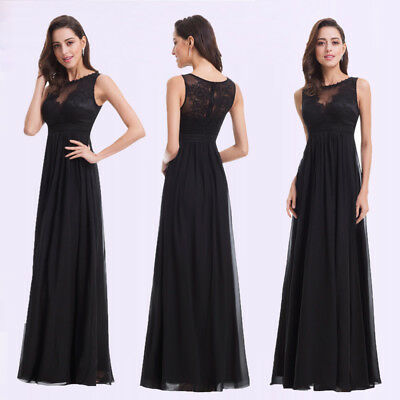 Ever-pretty Black Long Bridesmaid Wedding Dresses Formal Evening Prom Gown 08412