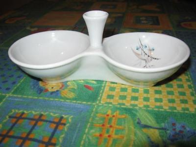 Vintage 60's Israel Naaman White Porcelain Double Bowl Open Salt Dish Judaica