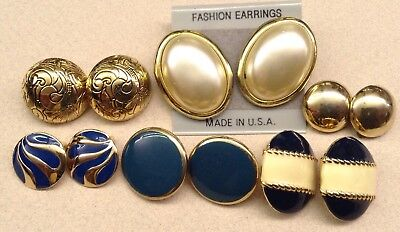 Six Pair Lot Of Clip On Style Vintage Earrings Round Oval Goldtone & Enamel