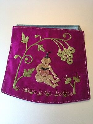 Antique CHINESE SILK HAND EMBROIDERED COIN POUCH PURSE CHILD BABY TREE