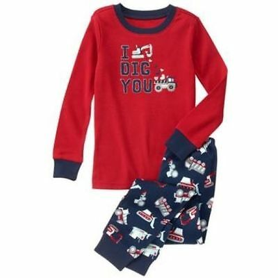 NWT Gymboree Boys Gymmies Pajamas set Truck I Dig You Valentine 3,4,7,8,10