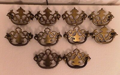 "Vintage Brass Drawer Pulls Handles Colonial Ornate Lot of 10 3 1/2"" Center"