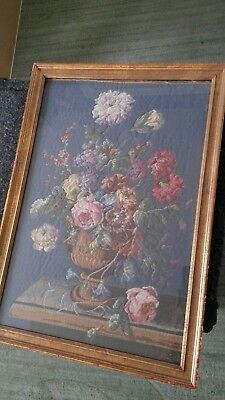 Antique Framed Hand Stitched Floral Urn - Unique  Circa Early 1900's    Nice!