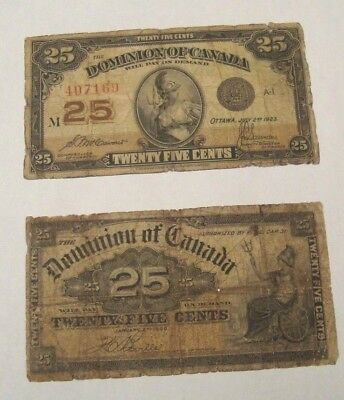 Canada 1900 &1923 Canada Dominion Paper Money - 25 Cents Banknotes Bills