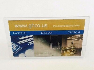 "6 Pack Business Card Clear Acrylic Sign Holder Slant Back Display 4""x2""  ZM"