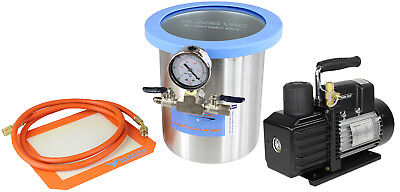 Glass Vac 1 Gallon Tall SS Vacuum Chamber and VE225 4CFM 2 Stage Vacuum Pump Kit