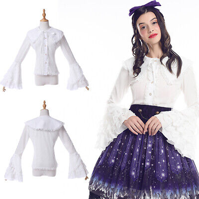 Sweet Lolita White Shirt Ruffle Flute Sleeve Lace Victorian Blouse Plus Size