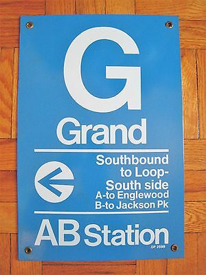 Vintage Chicago Elevated Subway Train Station Metal Sign Grand Avenue AB Stop