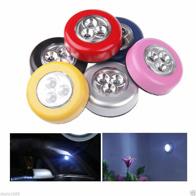 5 Pack Stick-on Push Light 3LED Battery-powered Night Light Black