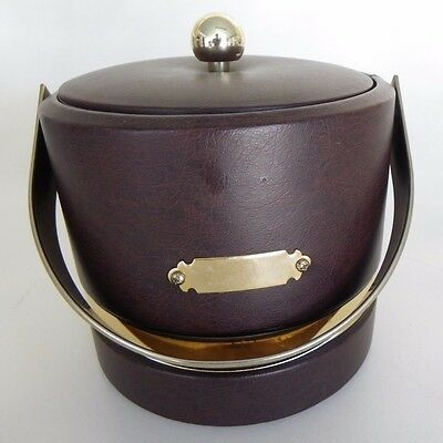 Georges Briard Engravable Vintage Ice Bucket Faux Brown Leather W/Gold Tone Band