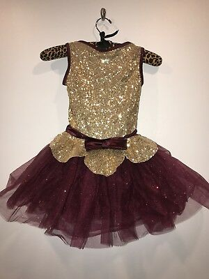 Girls Weissman Size IC Maroon & Gold Dance Costume With Crown Headband