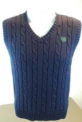 Chaps Boy's Navy Blue Sweater Vest Cable Knit Top NEW Medium (10-12)