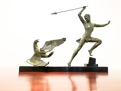 """Large Art Deco Sculpture """"The Hunter and the Eagle"""" 30's France Signed Roncourt"""