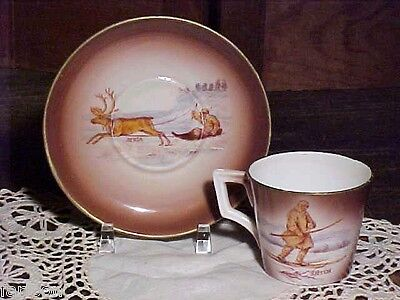 Amazing RORSTRAND 19th C. DEMITASSE CUP & SAUCER Reindeer, Sled & More