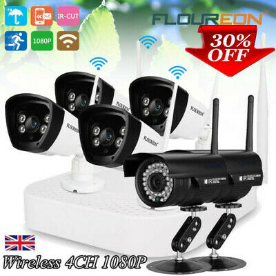 4CH Wireless CCTV 1080P DVR NVR Outdoor Wifi IP Cameras Home Security System Kit