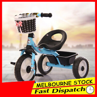 Blue 3 Wheel Bike Bicycle Tricycle Trike Basket Kid Children Toddler Outdoor Toy