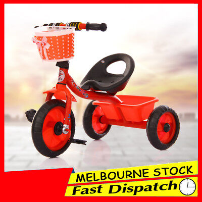Red 3 Wheel Bike Bicycle Tricycle Trike Basket Kids Children Toddler Outdoor Toy