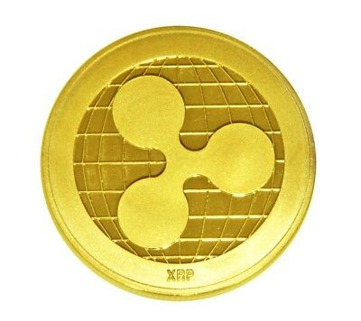 1pc Gold Ripple Commemorative Round Collectors Coin XRP Coin is Gold Plated Coin
