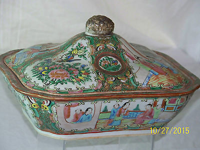Antique c1800's Qing Dy Hand Painted Rose Medallion Tureen