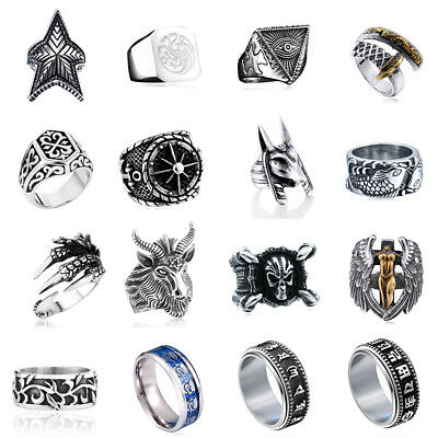 Fashion Vintage Mens Stainless Steel Rock Punk Band Alchemy Viking Rings Jewelry