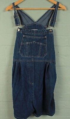 Original Vintage Zero to Nine Maternity 100% Cotton Denim Dungarees Shorts L
