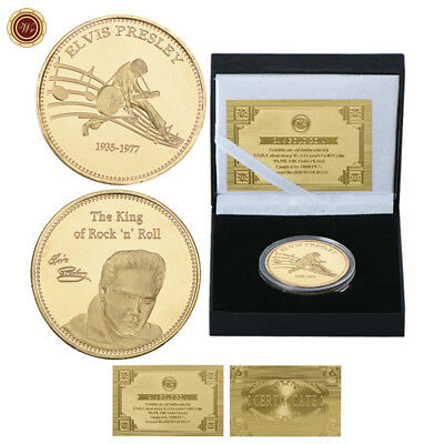WR Elvis Presley 24K Gold Coin In Gifts Box The King Of Rock & Roll Music Gift