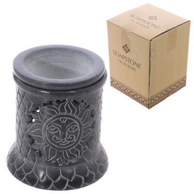 Beautifully Detailed Soapstone Oil Burner Grey With Intricate Sun Pattern