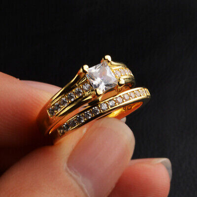 18K Plated Stainless Steel Wedding Couple Ring Engagement Rings Set (2 pcs)