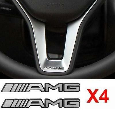 4 Pcs ALUMINIUM AMG Steering Wheel Sticker Badge Decal Emblem For Mercedes Benz