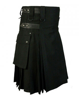 """Black Cotton And Leather Straps Utility Kilt For Men >Sizes Available 30"""" to 48"""""""