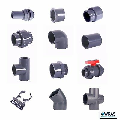 """PVC Imperial Solvent Weld Pressure Pipe & Fittings 1/2"""" to 2 1/2"""" WRAS."""