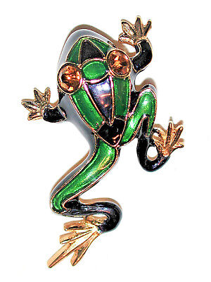 Vintage Art Deco Big Eyed Frog Pin Enamel Topaz Crystal Eyes Sphinx Brooch