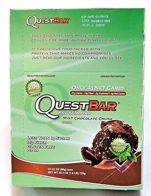 Quest Protein Mint Chocolate Chunk - Gluten and Soya Free (box of 12  60gr bars)