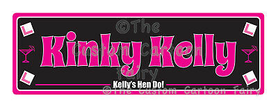 Personalised Iron On Hen Do/Party Name Plate T-shirt Transfers (20cm by 6.5cm)