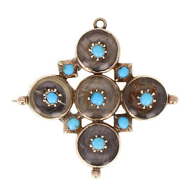 Antique Early Victorian Turquoise Gold Mourning Brooch