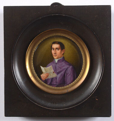 """""""Portrait of a young clerical gentleman"""", French miniature, 1820/30"""