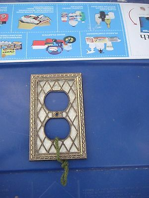 Vintage * AMERICAN TACK * Metal 1-Gang Duplex Outlet Receptacle Wall Plate USA