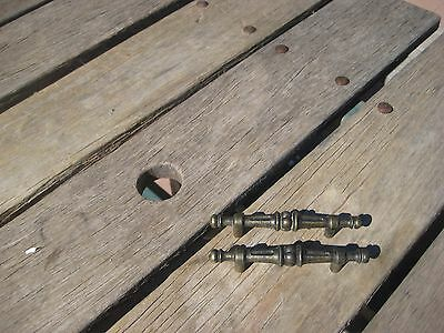 "Vintage 3"" *** AJAX *** Brass Drawer Cabinet Finial Bar Pull Lot of 2 USA"