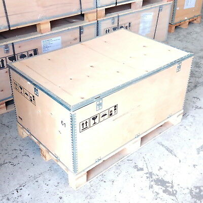 Euro Pallet Box Wooden Storage Shipping Container Crate Collar Lid 120 X 80cm