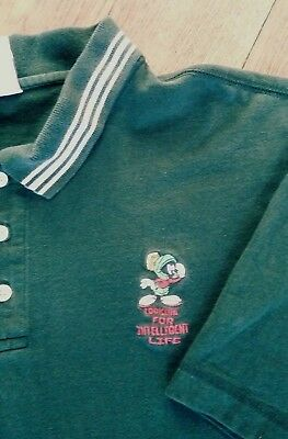 Warner Bros Polo Shirt Size XL Green Marvin The Martian Embroidered Short Sleeve