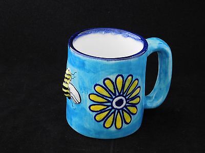 Hand Crafted Studio Art Pottery Flowers & Bee Blue Mug By CAT made in Mexico