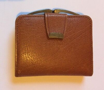 Vintage Tan Brown Real Buffalo Calf Leather Purse And Wallet Clasp And Popper