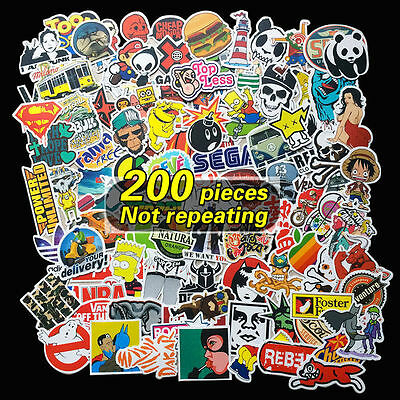 AU 200 Random Vinyl Decal Graffiti Sticker Bomb Laptop Waterproof Skate Stickers